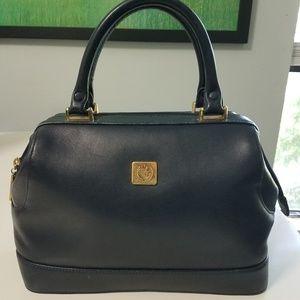 Liz Claiborne Navy Doctors Bag Satchel Purse Bag